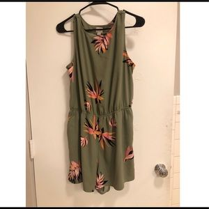 Green flowered romper